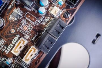 Printed computer motherboard with SATA Ports