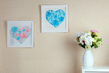 Beautiful handmade pictures with heart from paper flowers