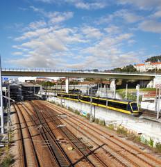Railroad tracks and trains