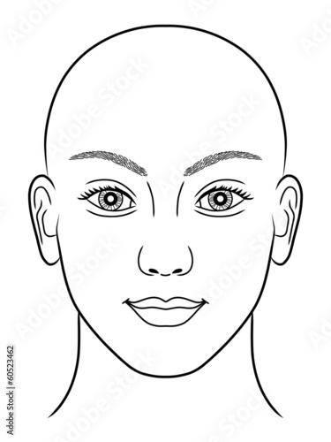 Schwarz-weiße Zeichnung eines Frauenportraits ohne Kopfhaar ...