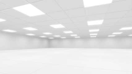 Abstract white office 3d interior with square lights