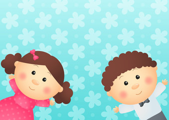 Cute kids on blue background