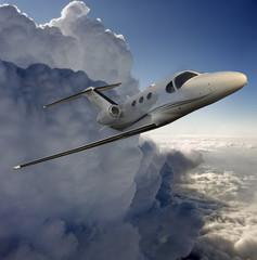 Executive in flight near a storm