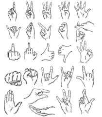 vector set of sketch finger gestures