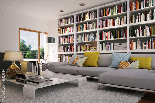 wohnzimmer mit sofa und b cherregal bookshelf in. Black Bedroom Furniture Sets. Home Design Ideas