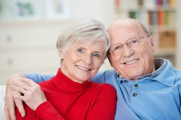 entspannte senioren sitzen im wohnzimmer