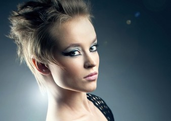 Glamour Fashion Woman Portrait with straight hair posing