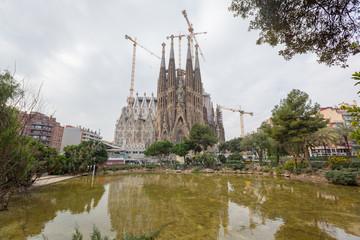 BARCELONA, SPAIN - FEBRUARY 27: Sagrada Familia on a Sunny Day o