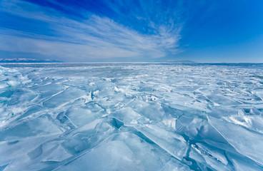 Baikal  Lake in winter. Field of hummocked ice