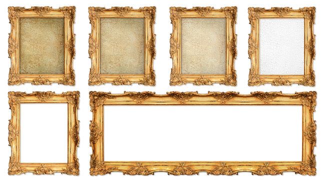 golden frame with different empty cracked canvas