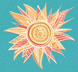 Ornament sun illustration. EPS vector file