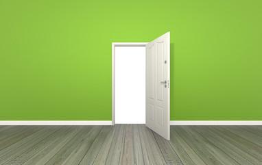 door open on color wall ,3d