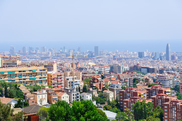 Cityscape view from the Park Guell in Barcelona, Spain