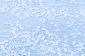 background ice on the frozen pond with snowflakes abstract form
