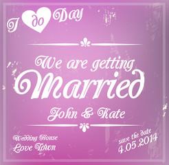 Wedding invitation template violet lavender card vector