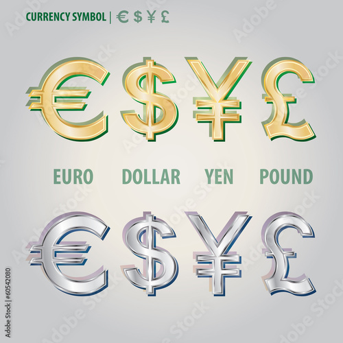 Currency Symbol Of Dollar Euro Yen And Pound Vector Stock Image And