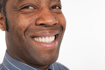 happy african man on white background