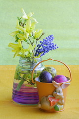 Easter card : bunny , eggs & flowers - green holiday background
