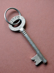 Old keys on a purple mat