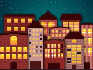 Cartoon city in the dark