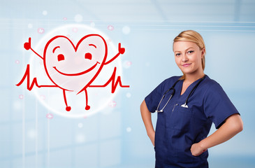 Attractive doctor with happy red smiling heart