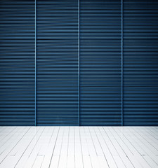metal wall and white wood floor