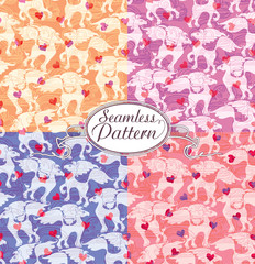 Romantic horse. Cartoon seamless pattern for cute wallpapers.