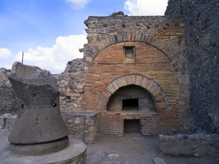 Bakery in the ruined city of Pompeii Italy