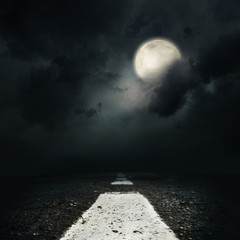 night road with the full moon