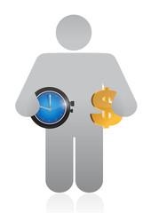 avatar. time equals money concept illustration
