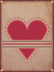 Vintage hearts poker card, vector illustration