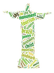 Words illustration of the famous Christ the Redeemer statue