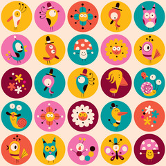 flowers, birds, mushrooms & snails characters circles pattern