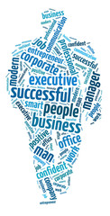 Words illustration of the concept of successful businessman