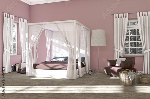 Rosa Schlafzimmer mit Himmelbett\