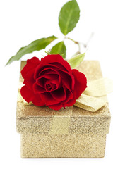 Valentine concept: red rose on a gift box