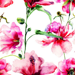 Seamless pattern with Ipomea and Peony flowers illustration