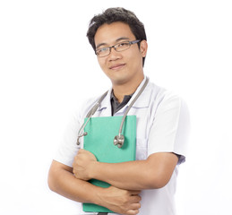 male doctor crossed arms on white background