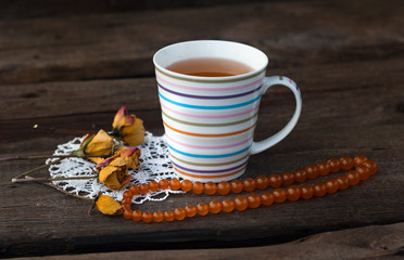 tea, vintage accessories and dry rose