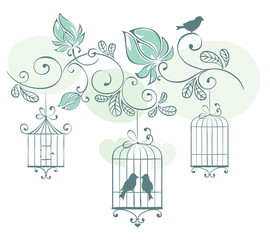 Floral background with birds in cage