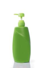 Green  bottles of liquid soap on white background