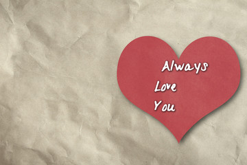 Always love you text on red heart,vintage style