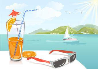 orange juice and seascape