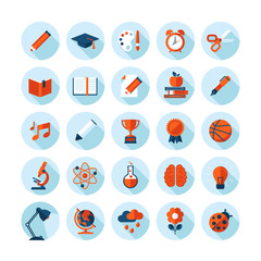 Set of flat icons on education, sport, science, art and music