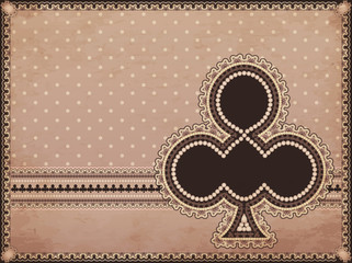 Casino old background with clubs poker element