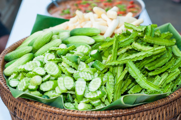 ginger, cucumber and winged bean on tray bamboo