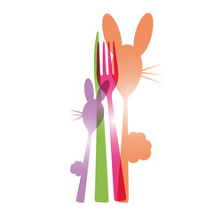 menu eastern, easter bunny, fork, spoon, knife