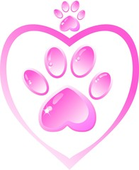 The icon - a pink paw with a heart