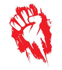 Révolution rouge front de révolte contestation graffiti