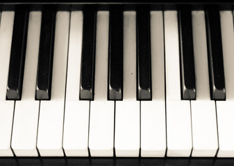 The black and White Keys of old piano